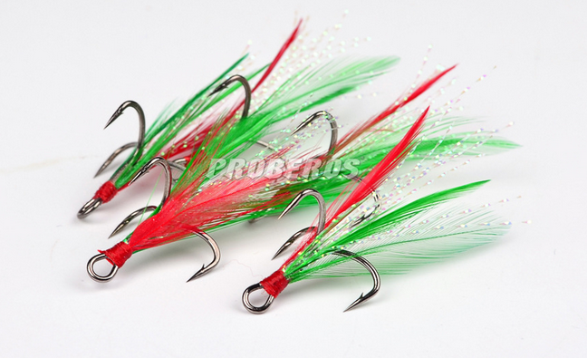 100 Pcs Red&Green Feather Treble Hooks #6