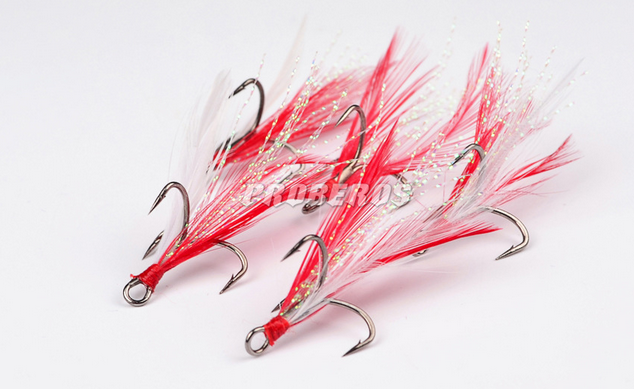 100 Pcs Red Feather Treble Hooks #6